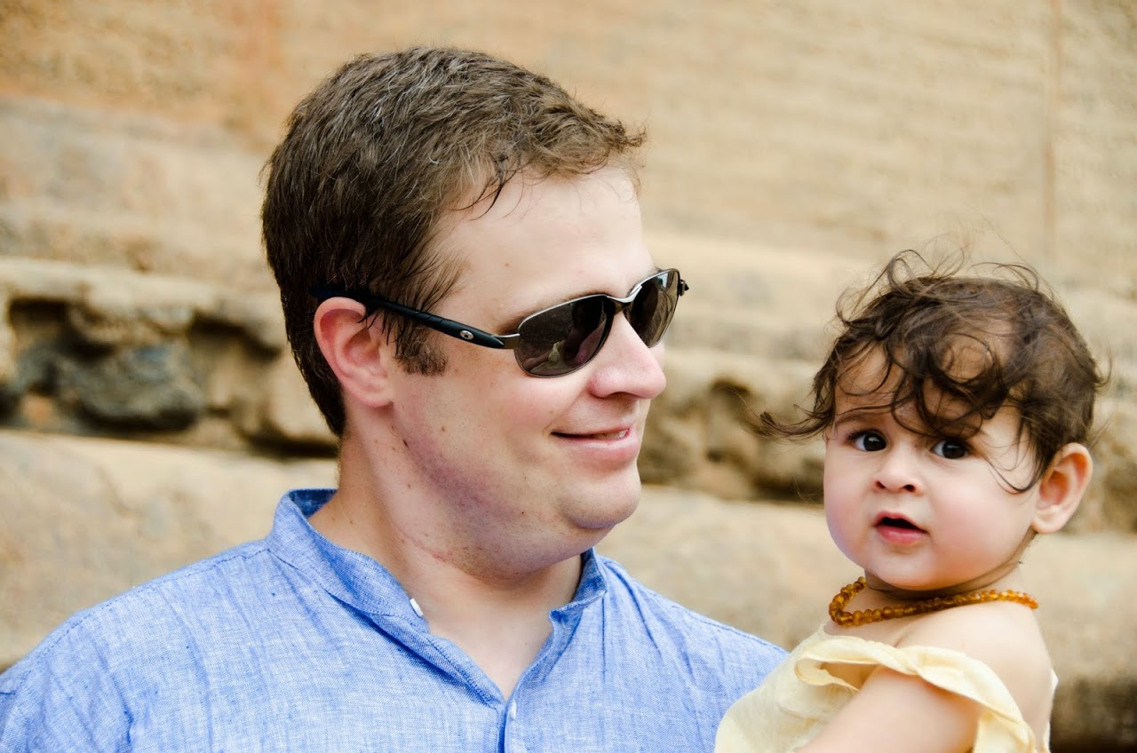 Patrick and Amara at the Tanjore temple