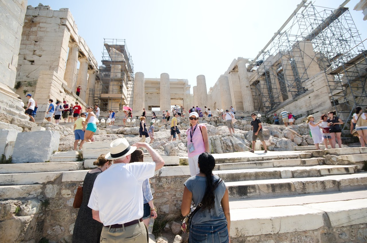 Walking up to the Acropolis